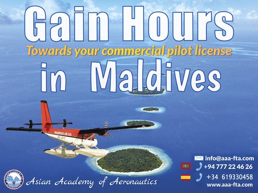 Gain Hours in Maldives. Towards your commercial pilot license