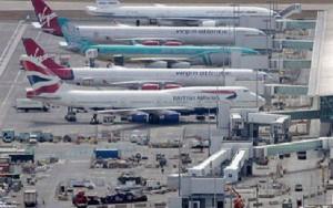 El colapso en los aeropuertos del sur de Inglaterra resulta notable.