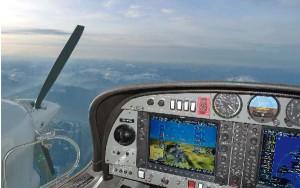 """El DA42 incorpora instrumentación G 1000 """"Glass Cockpit""""."""