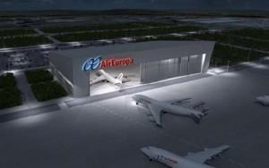 representación infográfica del futuro hangar.