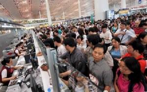 Las aglomeraciones en los mostradores de facturación son habituales en China.