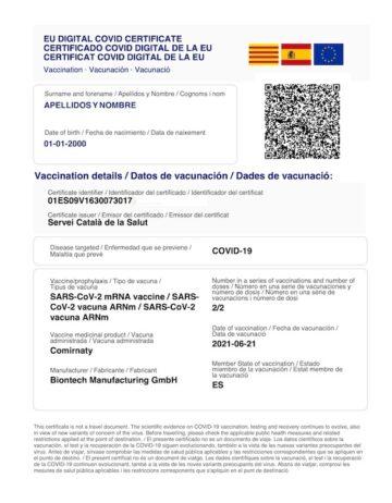 certificado covid vacunacion wallet
