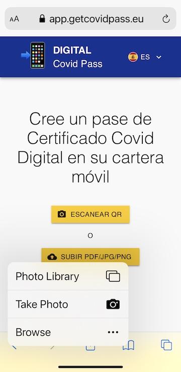 crear pase certificado covid